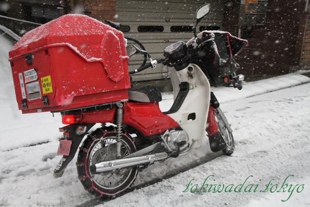 ときわ台、雪、バイク、チェーン