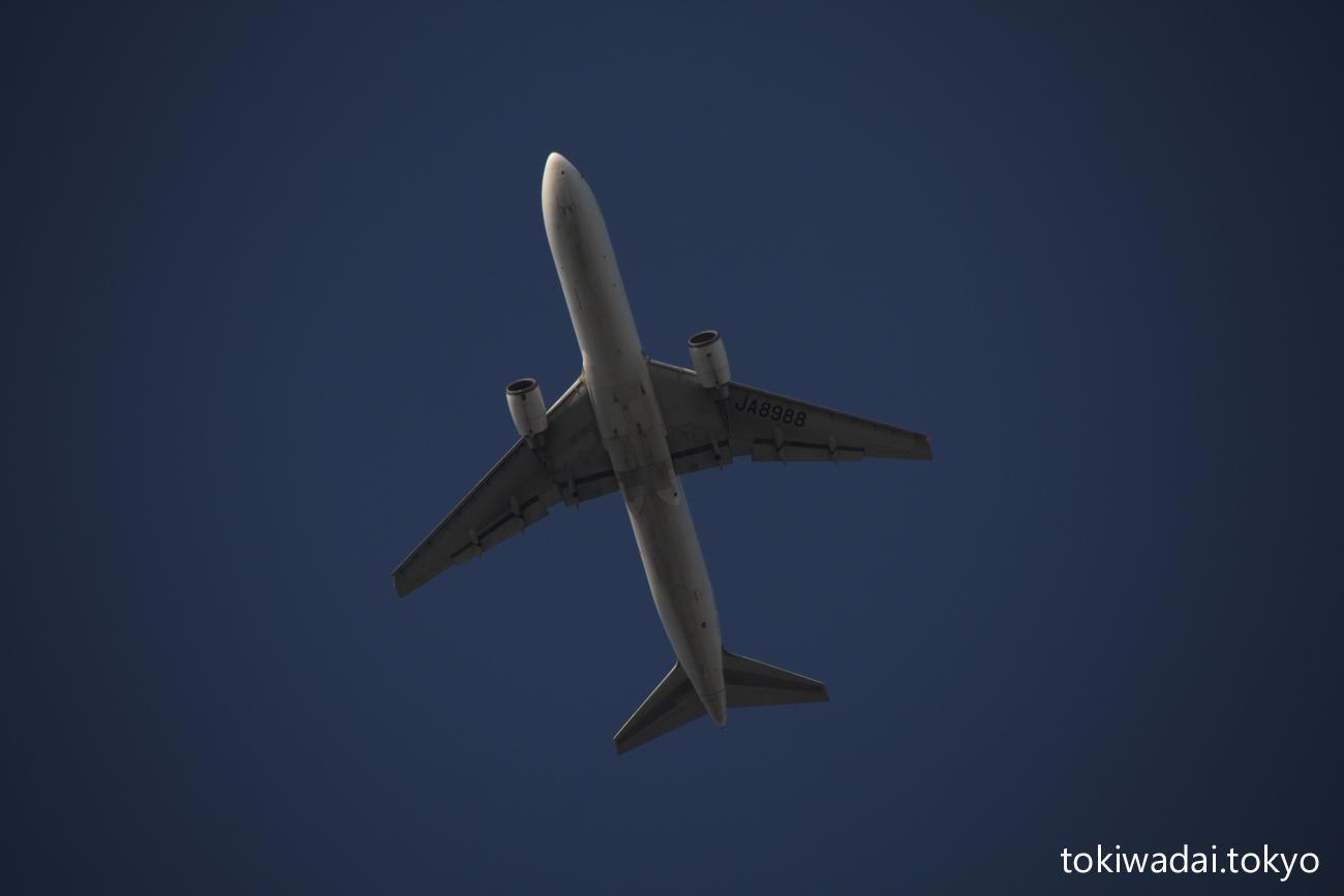 日本航空 ボーイング 767-300 ときわ台上空