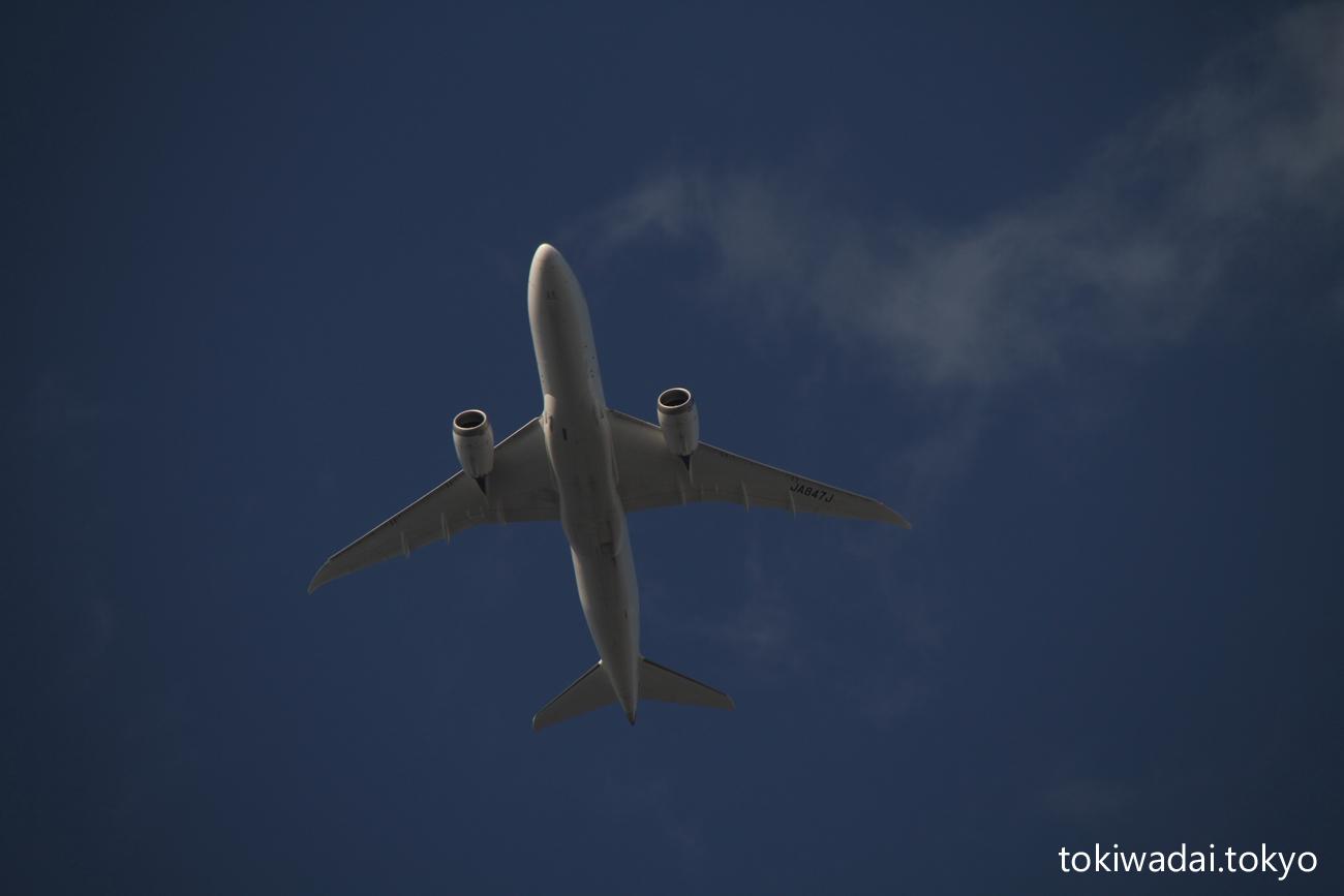 日本航空 ボーイング 787-8 Dreamliner ときわ台上空