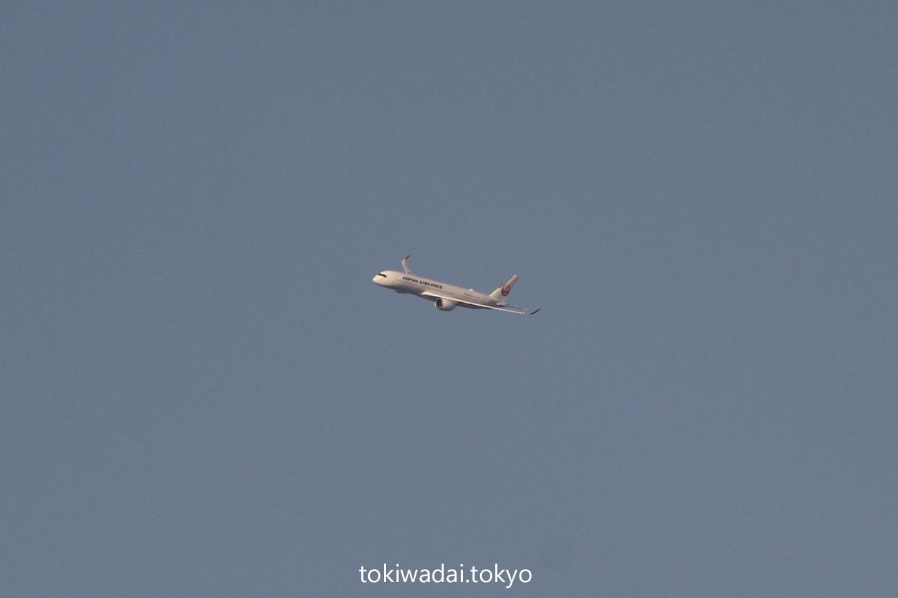 川口市上空あたりで旋回する日本航空 エアバス A350-900