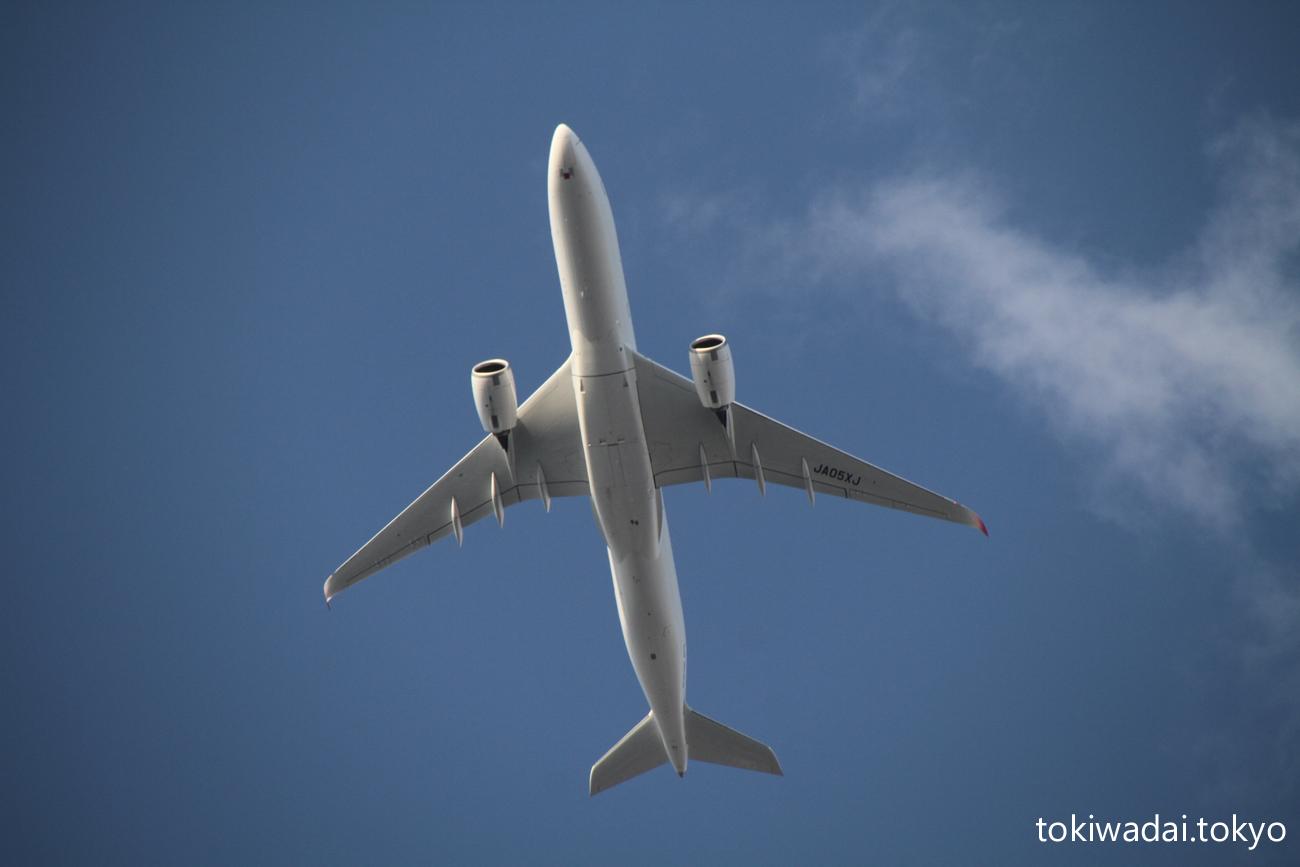 日本航空 エアバス A350-900 ときわ台上空